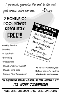 New West Pool & Spa Service Postcard Front