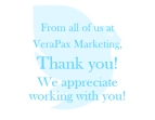 Front panel of a mailbox designed to send to clients as a thank you for doing business with Verapax.