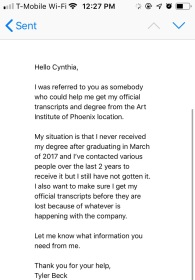 Email to Cynthia, Registrar at Art Institute of Phoenix